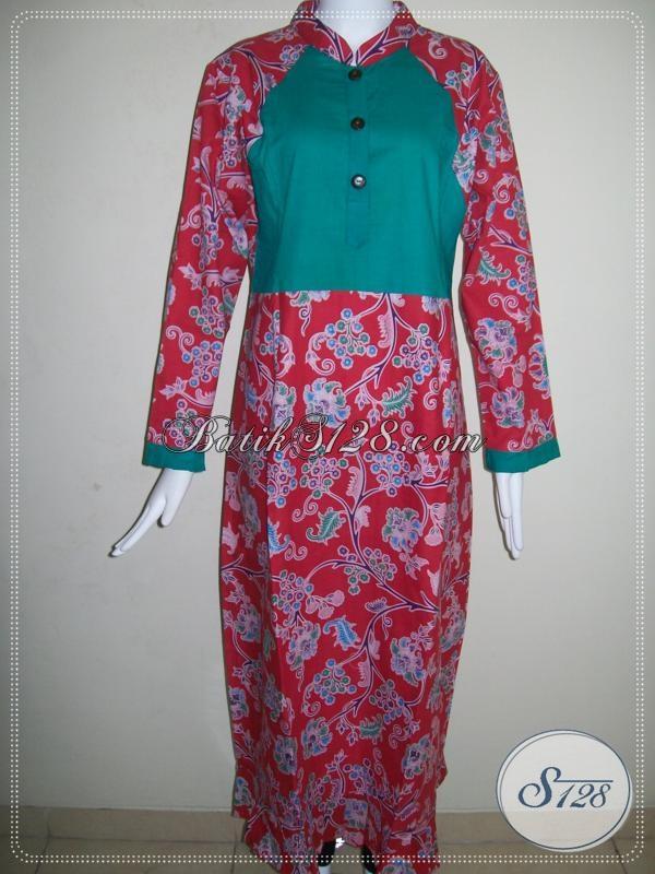 Gamis Batik Kombinasi Kain Polos Warna Merah Kombinasi Hijau G021p