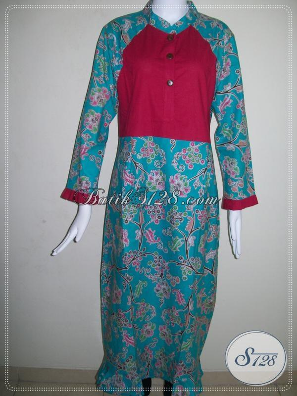 Abaya Batik Kombinasi Kain Katun Polos Untuk Mahasiswi Remaja Putri