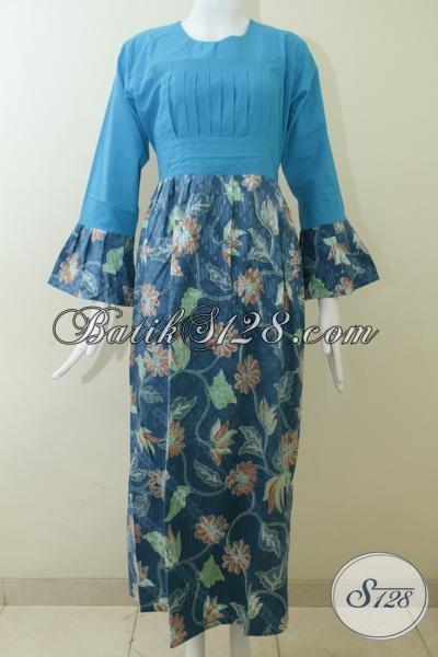 Abaya Batik Model Gamis Warna Biru Keren Dengan Motif Bunga Unik Klasik Modern, Busana Batik Trendy Dan Fashionable Buatan Solo, Size M