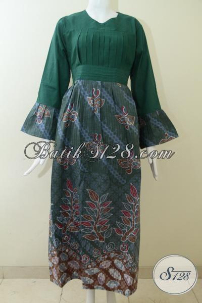 Jual Baju Batik Panjang Wanita Model Masa Kini, Busana Batik Pesta Warna Hijau Model Abaya Keren Untuk Wanita Berkerudung, Size L – XL