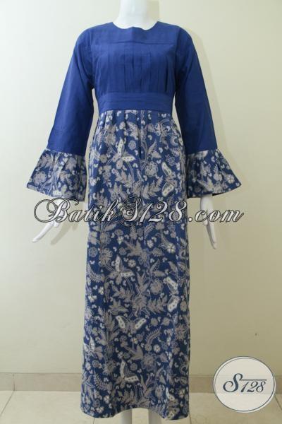 Baju Batik Model Gamis Dengan Kombinasi Warna Biru Dan