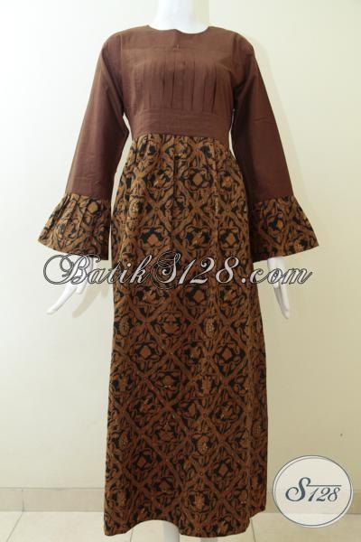 Jual Abaya Batik Modern Warna Coklat Elegan Gamis Batik