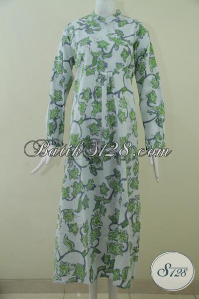 Baju Gamis Batik Model Terbaru Warna Dasar Putih Warna
