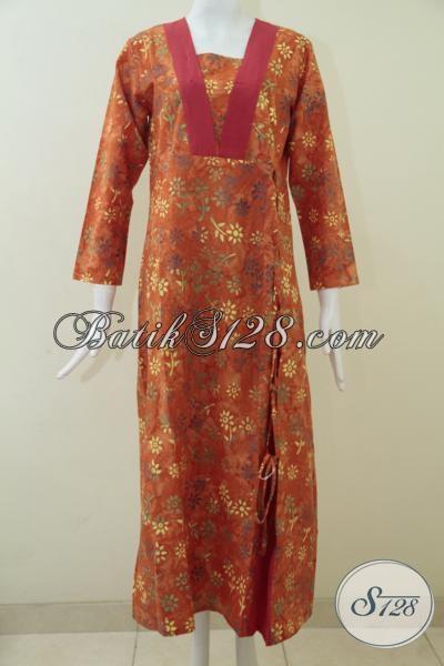 Gamis Batik Bagus Warna Orange, Elegan, Bagus, Bahan Katun [G1525CS-M, L]