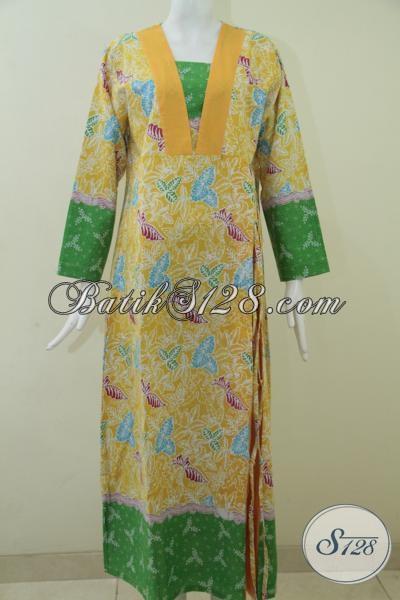 Baju Gamis Batik Online Ukuran Xl Warna Kuning Hijau
