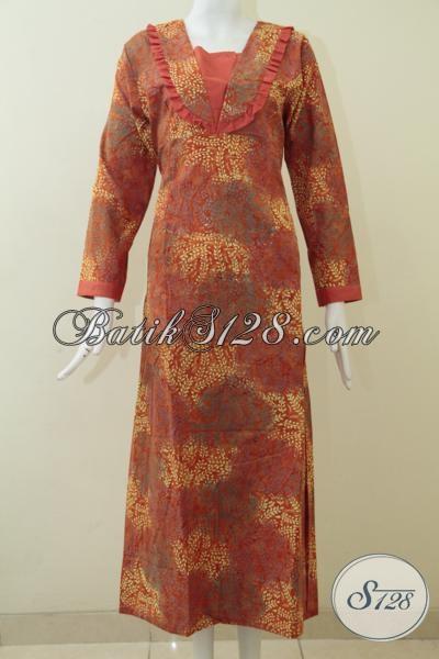Baju Batik Wanita Berhijab, Busana Batik Orange Motif Gradasi Cap Smoke Model Terbaru, Gamis Batik Keren Tampil Makin Beken, Size S – M – L