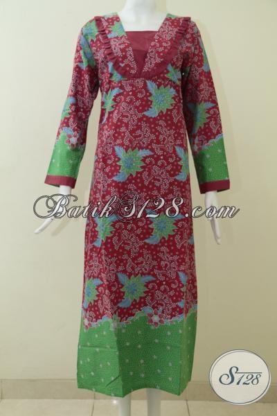 Tempat Belanja Busana Batik Online Terpercaya, Sedia Baju Gamis Batik Model Terbaru Warna Merah Kombinasi Hijau Dan Motif Yang Keren, Cocok Untuk Perempuan Berhijab Di Pakai Lebaran [G1708P-S]