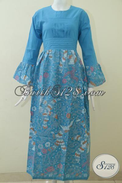 Baju Batik Gamis Warna Biru Model Terbaru Saat Ini Abaya