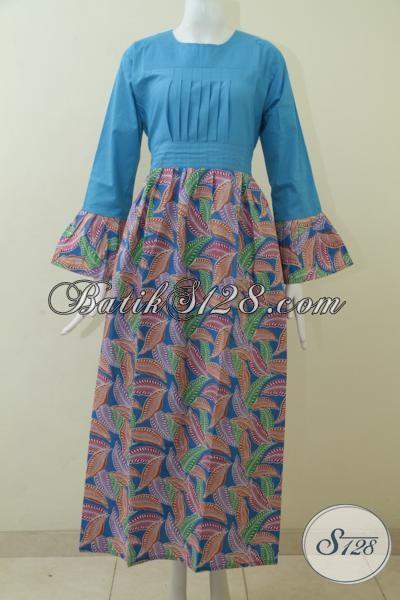 Jual Abaya Batik Solo Warna Biru Muda Berpadu Bawahan