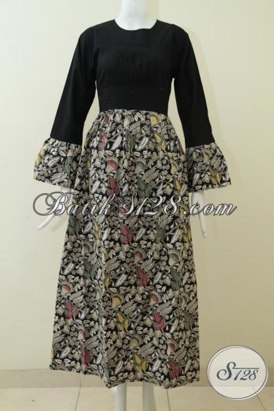 Pakaian Gamis Batik Atasan Hitam Dengan Bawahan Motif, Baju Batik Panjang Cocok Untuk Perempuan Berkerudung, Size M