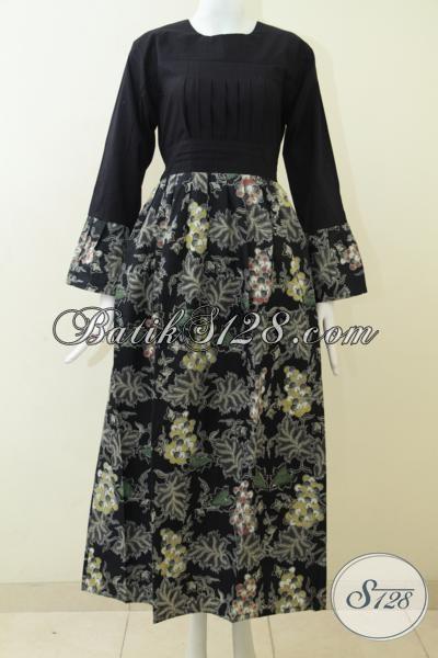 Pakaian Batik Gamis Kombinasi Tulis Warna Hitam Model