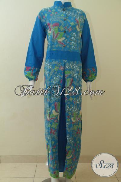 Gamis Batik Printing Warna Biru Motif Unik, Model Batik Muslim Terbaru Yang Membuat Penampilan Wanita Muslim Makin Trendy, Size L