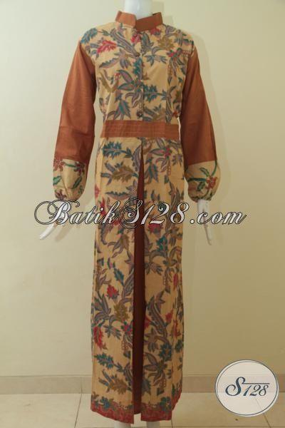Jual Abaya Batik Print Lasem Bahan Lebih Halus Dan Adem, Gamis Batik Elegan Cocok Buat Kerja Dan Jalan-Jalan, Size L