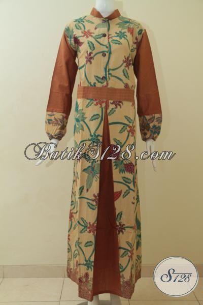 Batik Gamis Warna Kalem Dengan Bunga Bunga Coklat Muda Baju Batik