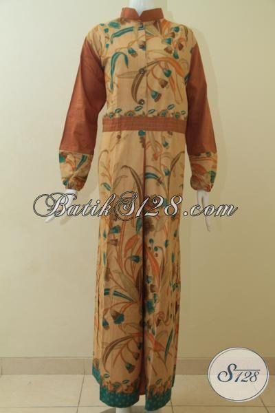 Baju Batik Gamis Warna Coklat Muda Kombinasi Motif Bunga