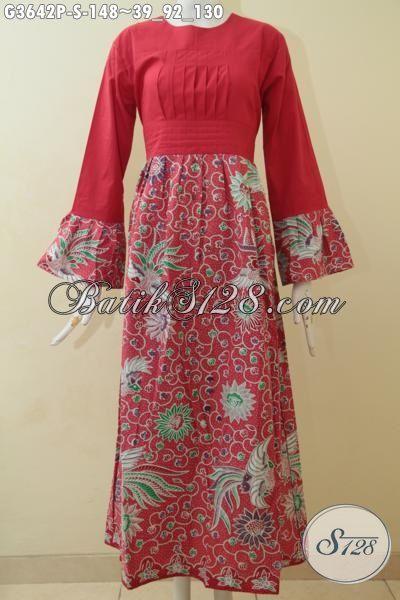 Gamis Batik Terbaru Buatan Solo, Hadir Dengan Warna Merah Cerah Berpadu Kombinasi Kain Polos Dan Motif Bunga, Baju Muslim Batik Spesial Buat Hijabers [G3642P-S]