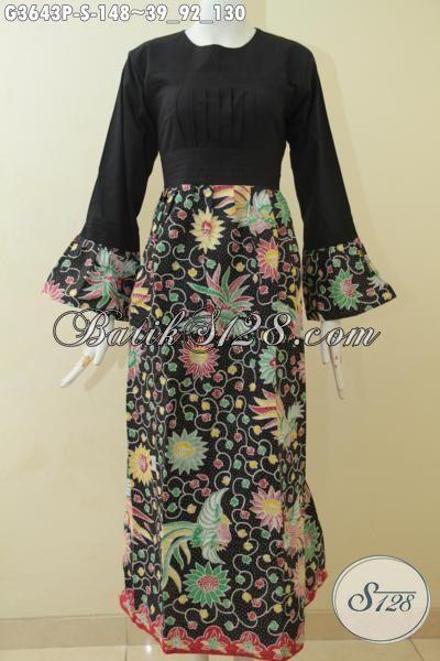 Baju Batik Panjang Model Gamis Warna Hitam Berpadu Bawahan