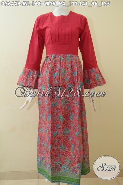 Gamis Batik Warna Merah Dengan Bawahan Bermotif Trendy Nan Mewah