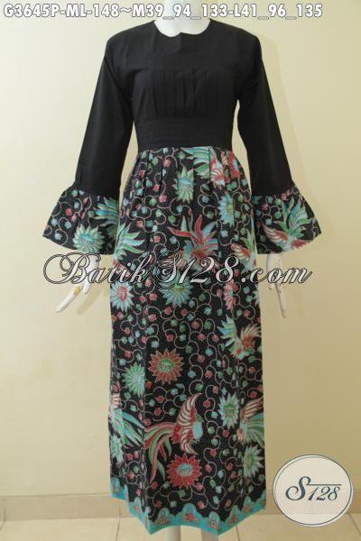 Gamis Batik Hitam Elegan Desain Terbaru Yang Terlihat Mewah, Baju Batik Wanita Muslimah Porses Printing Dengan Motif Keren Bikin Penampilan Tambah Mempesona [G3645P-M]