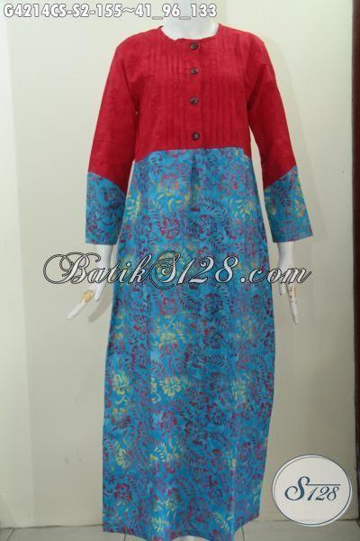 Gamis Batik Cap smoke Warna Gradasi Kombinasi Kain Polos Merah, Busana Batik Wanita Muslimah Desain Mewah Tampil Modis Dan Cantik, Size S