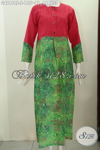 Jual Abaya Batik Warna Hijau Gradasi Proses Cap Smoke Berpadu Kain Polos Warna Merah, Long Dress Batik Size S Modis Dan Elegan Buat Jalan-Jalan