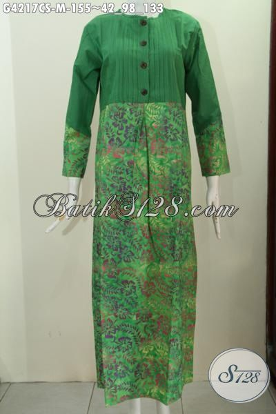 Gamis Batik Warna Hijau Motif Proses Cap Smoke Long Dress Batik
