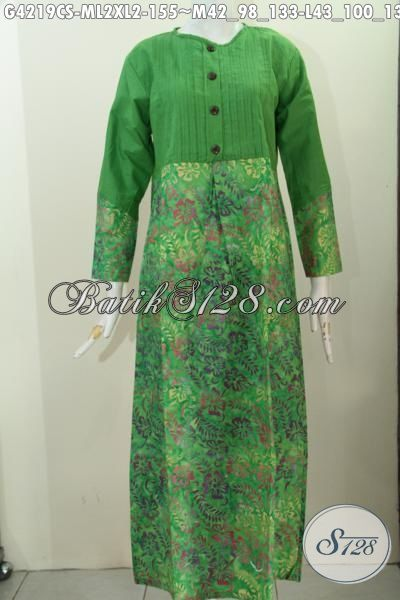 Long Dress Batik Warna Hijau Motif Unik Proses Cap Smoke, Gamis Batik Trendy Buat Wanita Muda Dan Dewasa Terlihat anggun Mempesona [G4219CS-L , XL]