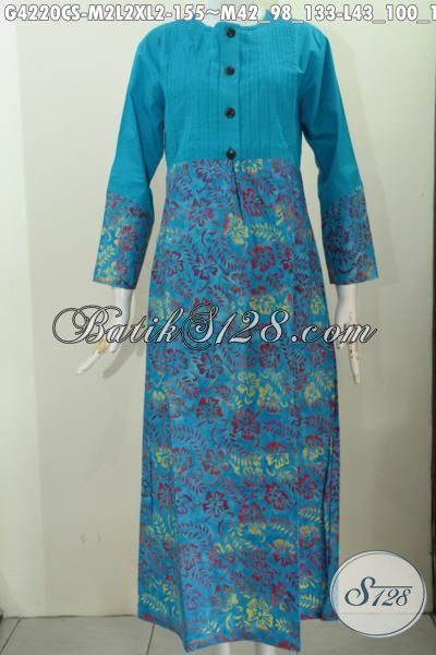 Baju Long Dress Modern Berbahan Batik Proses Cap Smoke