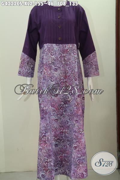 Sedia Pakaian Batik Wanita model Long Dress, Busana Batik Istimewa Warna Ungu Berpadu Batik Cap Smoke Model Berkelas Tampil Cantik Tanpa Batas, Size XL