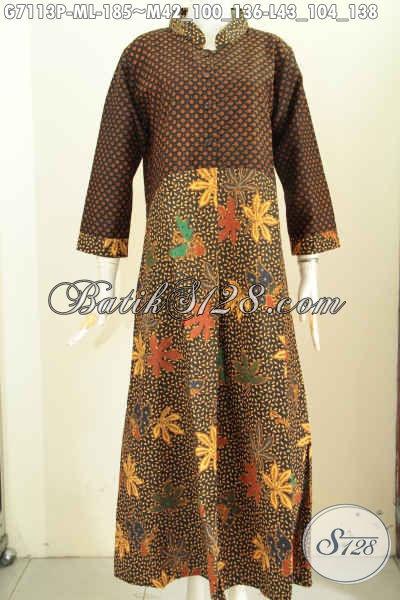 Model baju gamis batik kombinasi sifon katun