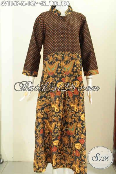 Dress Panjang Klasik Proses Printing, Pakaian Batik Gamis Wanita Muda Kwalitas Istimewa Dengan Harga Biasa, Size M