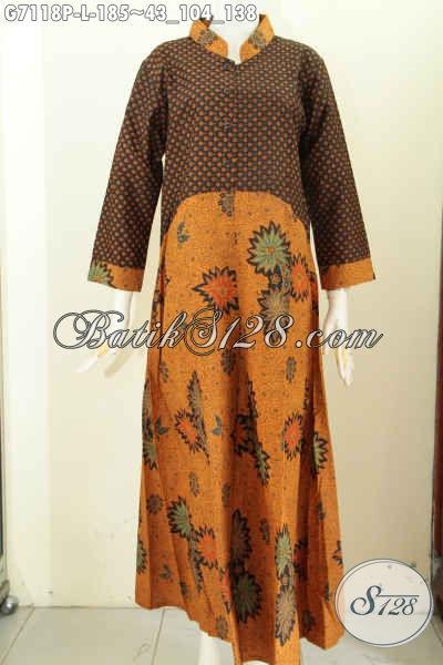 Model Baju Batik Wanita Berjilab, Gamis Batik Elegan Motif Klasik Bahan Adem Proses Printing, Bikin Penampilan Lebih Berkelas [G7118P-L]