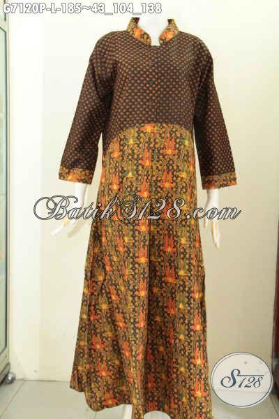 Gamis Batik Mewah Halus Proses Printing Kombinasi 2 Motif Klasik, Wanita Muslimah Tampil Berkelas, Size L