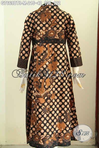 Model Baju Batik Wanita Berjilbab, Batik Long Dress Abaya Model Resleting Depan Motif Kombiansi Proses Kombinasi Tulis Hanya 215K [G7669BT-M]