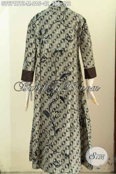 Jual Online Abaya Batik Elegan Dan Mewah, Gamis Batik Resleting Depan Motif Klasik Kombinasi Tulis Bahan Adem Nyaman Di Pakai [G7671BT-M]