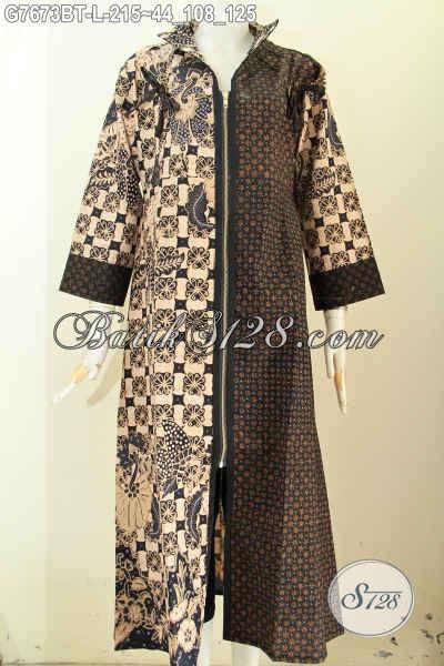 Gamis Batik Ukuran L Long Dress Batik Abaya Desain Resleting Depan