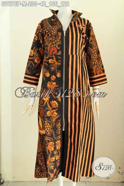 Koleksi Terbaru Long Dress Batik Abaya Nan Berkelas, Gamis Batik Solo Klasik Proses Printing Untuk Kerja Wanita Berhijab [G7676P-M]