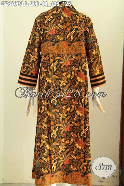 Model Baju Batik Wanita Berjilbab Resleting Depan, Gamis Batik Solo Elegan Mewah Harga Terjangkau Motif Klasik Printing, Penampilan Lebih Sempurna [G7680P-L]