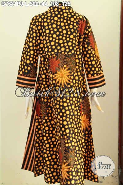 Jual Online Gamis Batik Elegan, Abaya Batik Solo Berkelas, Long Dress Batik Istimewa Model Resleting Depan, Bahan Adem Nyaman Di Pakai Harga 200K [G7681P-L]
