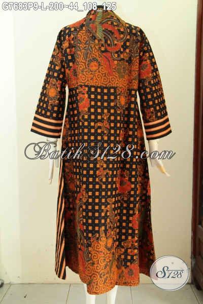 Online Shop Batik Solo Pilihan Komplit, Sedia Gamis Batik Mewah Motif Klasik Pakai Resleting Depan Hanya 200 Ribu, Size L