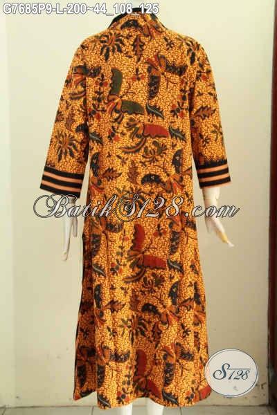Produk Terkini Gamis Batik Solo Motif Mewah Proses Printing, Busana Abaya Batik Long Dress Berkelas Hanya 200K [G7685P-L]