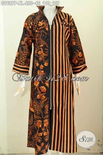 Gamis Batik Klasik Motif Kombinasi, Pakaian Bati Wanita Muslimah 2017 Dengan Resleting Depan, Pas Untuk Lebaran [G7687P-XL]