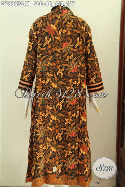 Desain Baju Batik Gamis Wanita 2017 Dengan Resleting Depan