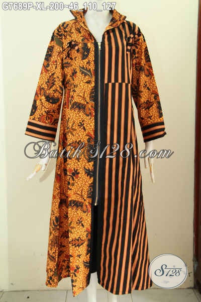 Gamis Batik Wanita Dewasa, Long Dress Batik Abaya Model Resleting Depan Bahan Adem Motif Klasik, Penampilan Lebih Gaya Dan Mempesona [G7689P-XL]