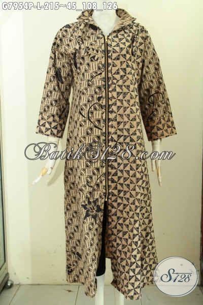 Pakaian Batik Wanita Berhijab, Gamis Batik Solo Istimewa Bahan Adem Motif Klasik Pakai Resleting Depan Harga 200 Ribuan, Tampil Cantik Menawan Syar'i [G7954P-L]