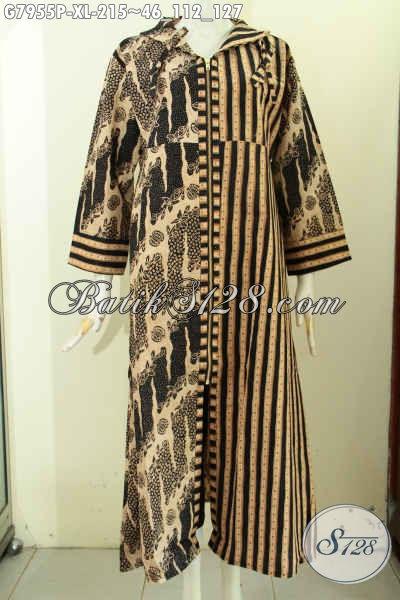 Gamis Batik Wanita Dewasa, Long Dress Batik Resleting Depan Motif Klasik Desain Istimewa Proses Printing, Menunjang Penampilan Makin Sempurna [G7955P-XL]