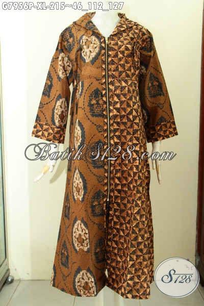 Koleksi Terkini Gamis Batik Motif Kombinasi, Long Dress Batik Istimewa Buatan Solo Asli Proses Printing Harga 200 Ribuan, Tampil Modis Dan Syar'i [G7956P-XL]