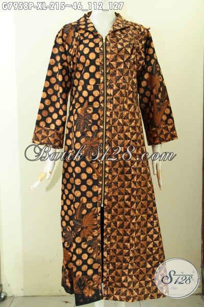 Gamis Batik Berkelas Yang Bikin Wanita Tampil Syar'i Nan Elegan, Long Dress Batik Motif Klasik Printing Di Lengkapi Resleting Depan Harga 215 Ribu [G7958P-XL]