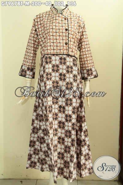Batik Gamis Wanita Terkini, Baju Batik Krah Shanghai Kancing Samping Motif Klasik Kombinasi Tulis Harga 200K [G7967BT-M]