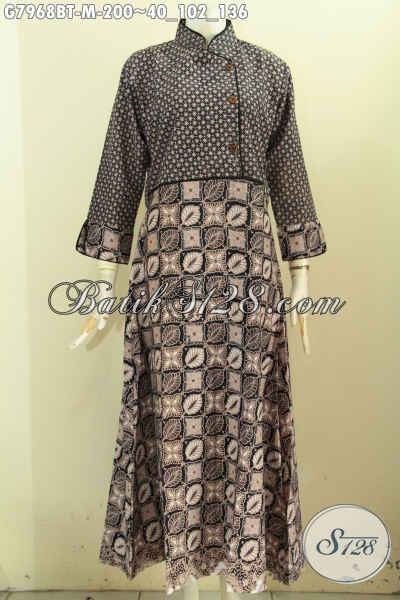 Produk Baju Batik Kombinasi, Long Dress Batik Klasik Kombinasi Tulis Bahan Adem, Pakaian Batik Berkelas Wanita Berhijab [G7968BT-M]
